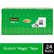 "Scotch Magic Tape, Standard Width, Engineered for Repairing, Matte Finish, 3/4"" x 27.77 yds., Boxed, 24 Rolls (810K24)"