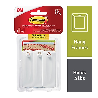 White Command Sawtooth Picture Hangers