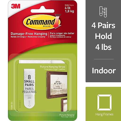 Command Small Picture Hanging Strips White 8pack Staples