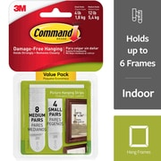 Command™ Small and Medium Picture Hanging Strips, White, 4 Small Pairs and 8 Medium Pairs/Pack (17203)