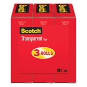"Scotch Transparent Tape, Standard Width, Engineered for Office and Home Use, 3/4"" x  27.77 yds., 3 Rolls (600K3)"