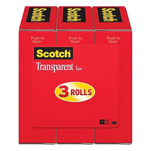 3 Inch Core 1//2 x 2592 Inches 2 Rolls Scotch Transparent Tape 600-2P12-72