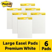 """Post-it® Super Sticky Easel Pad, 25"""" x 30"""", White, 30 Sheets/Pad, 6 Pads/Pack (559-VAD-6PK)"""