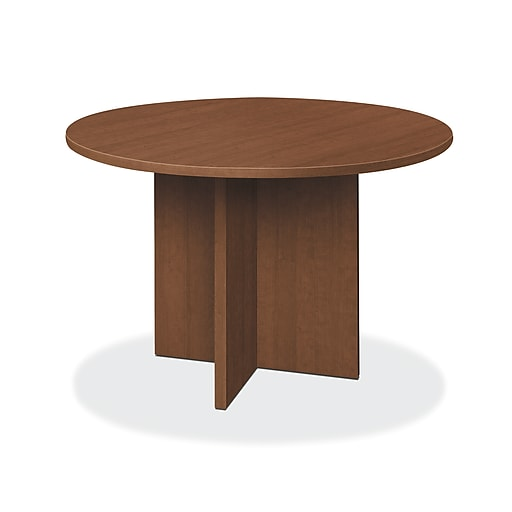 "HON Foundation 48"" Round Conference Table, Flat Edge Profile, X-Base, Shaker Cherry Finish (HONLMC48DF) NEXTExpress NEXT2019"