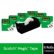 "Scotch® Magic™ Tape with Desktop Refillable Dispenser, 3/4"" x 27.7 yds., 6 Rolls (810KC38)"