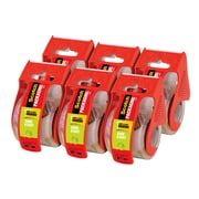"""Scotch Sure Start Shipping Packaging Tape,6 Rolls,1.5 Inch Core,1.88/"""" x 25 Yards"""