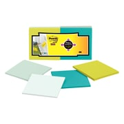 """Post-it® Super Sticky Full Adhesive Notes, 3"""" x 3"""" Bora Bora Collection, 25 Sheets/Pad, 12 Pads/Pack (F330-12SSFM)"""
