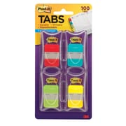 "Post-it® Tabs, 1"" Wide, Solid, Assorted Colors, 100 Tabs/Pack (686-RALY)"