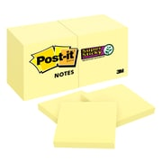 "Post-it® Super Sticky Notes, 2"" x 2"" Canary Yellow, 90 Sheets/Pad, 12 Pads/Pack (622-12SSCY)"