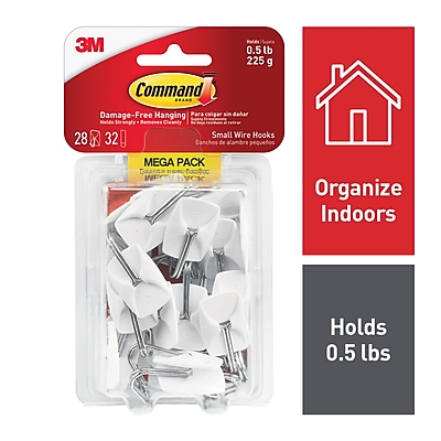Command™ Small Wire Hooks Mega Pack, White, 28/Pack (17067MPES)