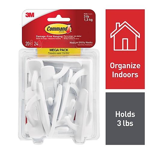 Command™ Medium Utility Hooks Mega Pack, White, 20 Hooks (17001-MPES)