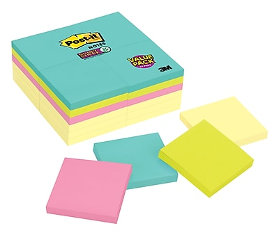 "Post-it® Super Sticky Notes, 3"" x 3"" Miami Collection, 90 Sheets/Pad, 24 Pads/Pack (654-24SSCYM)"