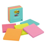 "Post-it® Super Sticky Notes, 4"" x 4"", Miami Collection, Lined, 90 Sheets/Pad, 6 Pads/Pack (675-6SSMIA)"