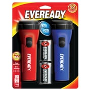 General Purpose LED Flashlight Assorted Color Pack of 2 (EVEL152S)
