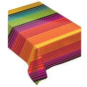 "Amscan Fiesta Flannel Backed Tablecover, 52""W x 90""L, Multi Color, Flannel Vinyl, Pack of 2 (573125)"