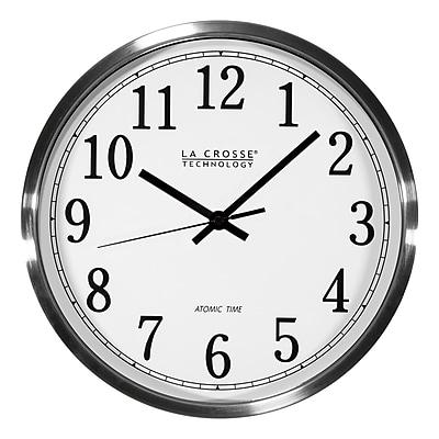 La Crosse Technology 12 Inch Atomic Analog Wall Clock, Aluminum (WT-3126B)