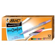 BIC Round Stic Grip Xtra-Comfort Ballpoint Pens, Medium 1.0 mm, Assorted Fashion, 12/Pack (WX8ST981-AST)