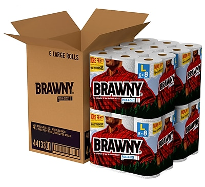 Brawny® Pick-a-Size® Paper Towels, 2-Ply, White, 87 Sheets/Roll, 24 Large Rolls/Carton (44133)