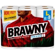 Brawny® Pick-A-Size Paper Towel Rolls, 2-Ply, 6 Rolls/Pack