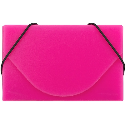 JAM Paper® Plastic Business Card Case, Pink, 1/Pack (291618969B)