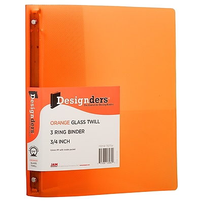 JAM Paper® Plastic 3 Ring Binder, 0.75 inch, Orange, Sold Individually (53016OR)