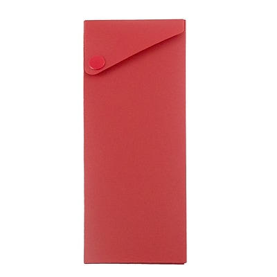JAM Paper® Pencil Cases - Sliding Pencil Case with Button Snap - Red - Sold Individually