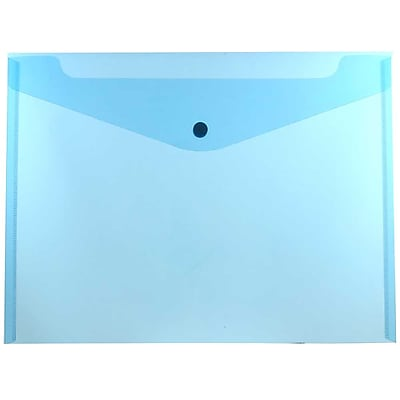 JAM Paper® Plastic Envelopes with Snap Closure, Letter Booklet, 9.75 x 13, Blue Poly, 12/pack (218S0BU)