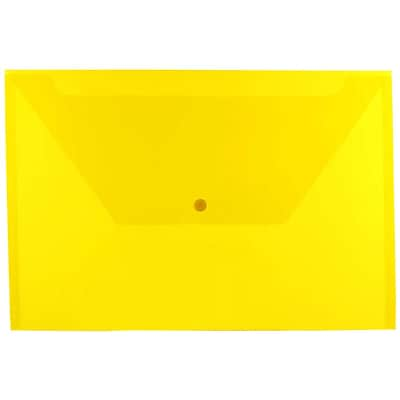 JAM Paper® Plastic Envelopes with Snap Closure, Legal Booklet, 9.75 x 14.5, Yellow Poly, 12/pack (34830YE)