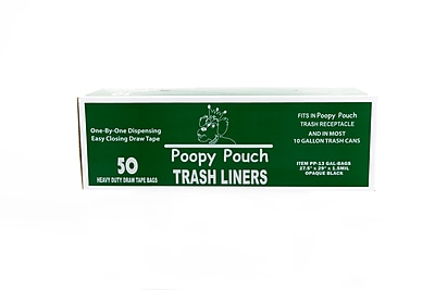 Poopy Pouch Super Heavy 13 gal. Trash Bags, Black, 50 Bags/Box (PP-13-Gal)