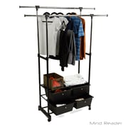Mind Reader Double Garment Rack with 4 Bottom Drawers, Black (4DBLGARM-BLK)
