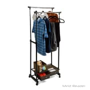 Mind Reader Double Garment Rack with 2 Bottom Drawers, Black (DBLGARM2D-BLK)