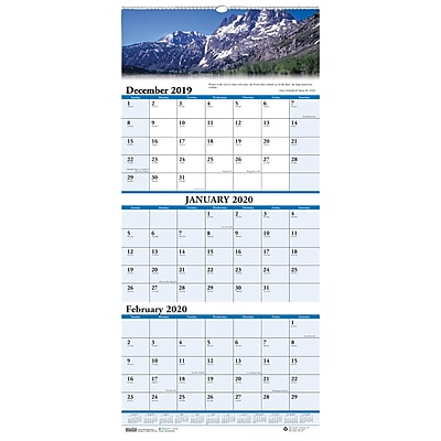 House of Doolittle 2019 Three-Month Earthscapes Scenic Vertical Wall Calendar 8