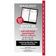 "AT-A-GLANCE® Daily Loose-Leaf Desk Calendar Refill with Monthly Tabs, 12 Months, January Start, 3 1/2"" x 6"" (E717T-50-19)"