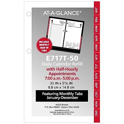 At A Glance Daily Loose Leaf Desk Calendar Refill With Monthly Tabs
