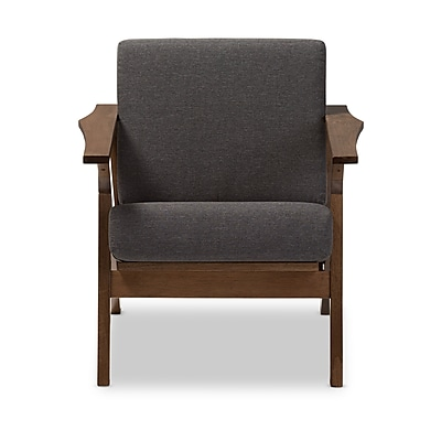 Baxton Studio Cayla Upholstered Living Room Lounge Chair, Gray (2633-6885-STPL)