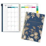"Emily Ley Customizable Monthly Planner, 12 Months, January Start, 4 7/8"" x 8"", Gold Floral (EL100-202-19)"