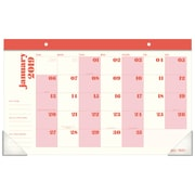 "Emily + Meritt Monthly Desk Pad, 12 Months, January Start, 17 3/4"" x 10 7/8"", Red and Pink (EM100-705-19)"