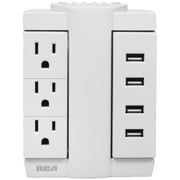 RCA PSWTS3U48Z 3-Outlet Swivel Wall Tap with 4 USB Ports