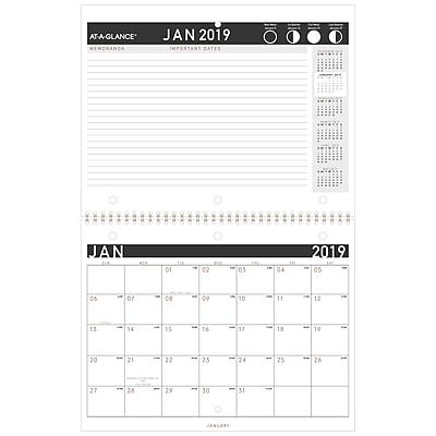 2019 AT-A-GLANCE® Contemporary Monthly Desk/Wall Calendar, 12 Months, January Start, 11
