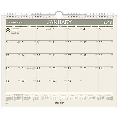 2019 AT-A-GLANCE® Recycled Monthly Wall Calendar, 12 Months, January Start, 15