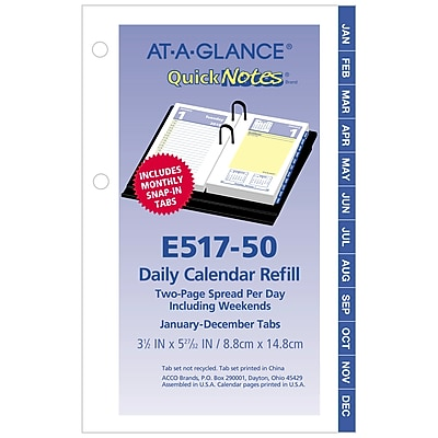 2019 AT-A-GLANCE® QuickNotes® Daily Loose-Leaf Desk Calendar Refill, 12 Months, January Start, 3 1/2