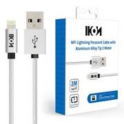 IKON MFI Lightning Cable 2 meter for iPhone 8/8+/7/7+/6/6+ White 2 pack (IKONLTNGWT2M2PK)