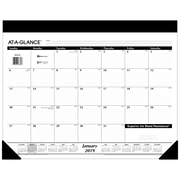 """2019 AT-A-GLANCE® Refillable Monthly Desk Pad, 12 Months, January Start, 21 3/4"""" x 17"""" (SK22-00-19)"""