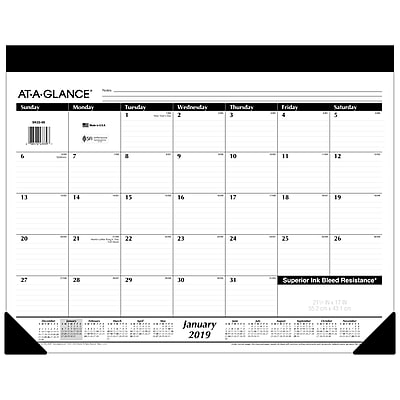2019 AT-A-GLANCE® Refillable Monthly Desk Pad, 12 Months, January Start, 21 3/4