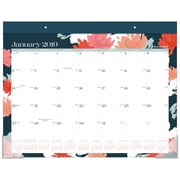 "2019 AT-A-GLANCE® Badge Floral Monthly Desk Pad Calendar, 12 Months, January Start, 21 3/4"" x 17"" (D1148B-704-19)"
