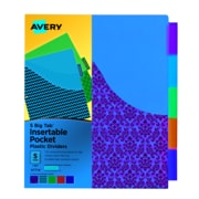 "Avery Big Tab Pocket Divider, 5 Tab, 5 Tab/Set, Letter, 8.50"" Width x 11"" Length, Multicolor Plastic Divider, 1/Set"