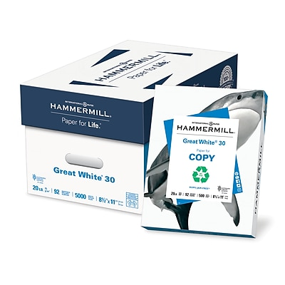 Hammermill Great White Recycled Copy Paper, LEGAL-size, 20 lb., 8 1/2