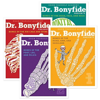 Know Yourself 206 Bones of the Human Body by Dr. Bonyfide, 4 Book Set (KWYDRB4BB)