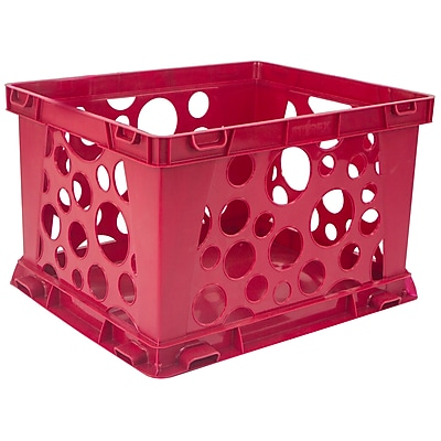 "Storex Mini Crate School, 9""L x 7.75""W x 6""H, Red, Set of 6 (STX61491U24)"