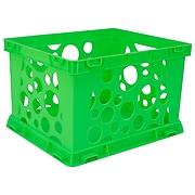 """Storex Mini Crate School, 9""""L x 7.75""""W x 6""""H, Green, Set of 6 (STX61493U24C)"""